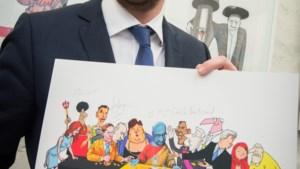 Cartoonisten tekenen Laatste Avondmaal van Charles Michel
