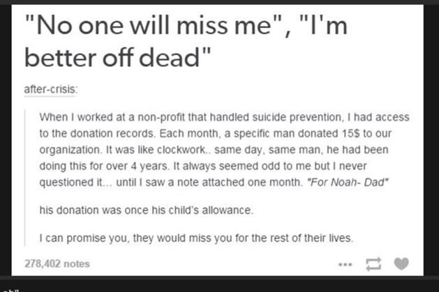 Foto: 'Waarom zelfmoord nooit de oplossing is'
