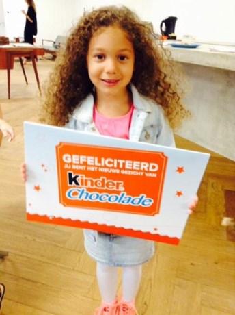 Alicia (4) uit Heusden-Zolder gezicht van Kinderchocolade