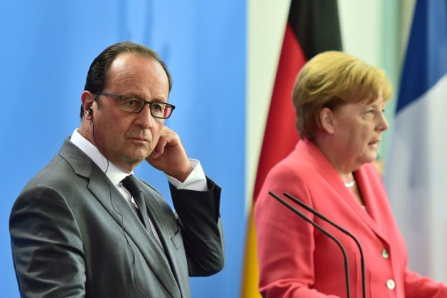 Merkel en Hollande spreken samen Europees Parlement toe