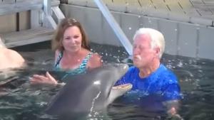 Schattig: Man en dolfijn vechten wedstrijdje uit