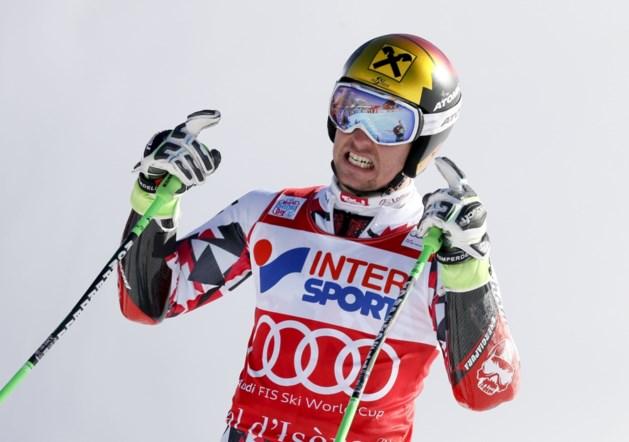 Marcel Hirscher triomfeert in Val d'Isère