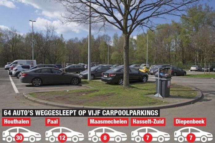 Tientallen auto's getakeld bij opkuis Limburgse carpoolparkings