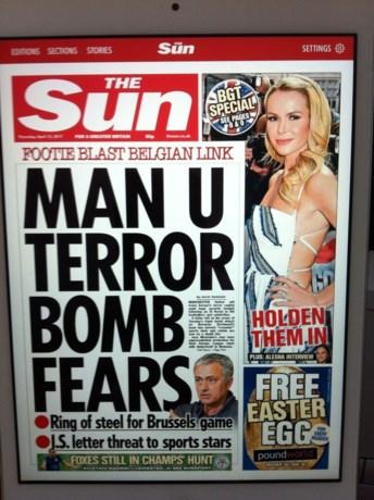 """The Sun: """"Schrik voor aanslag op Manchester United in terroristisch broeinest Brussel"""""""