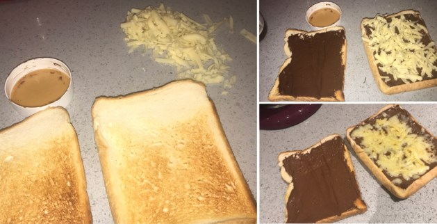 Meisje maakt een creatief ontbijt, maar Twitter kan het duidelijk niet smaken