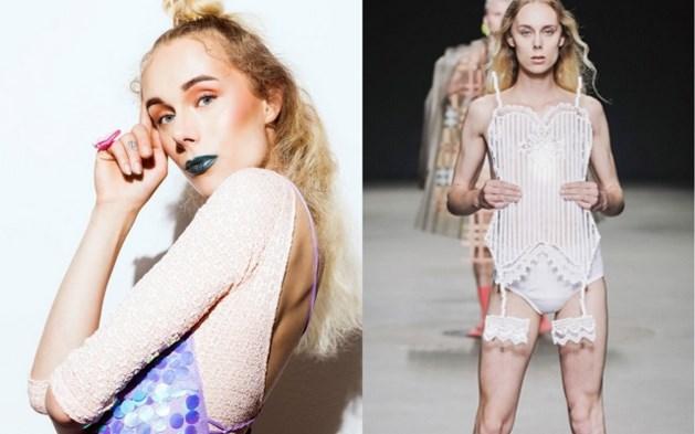 Transgender vrouw gaat topless voor modeweek in Amsterdam