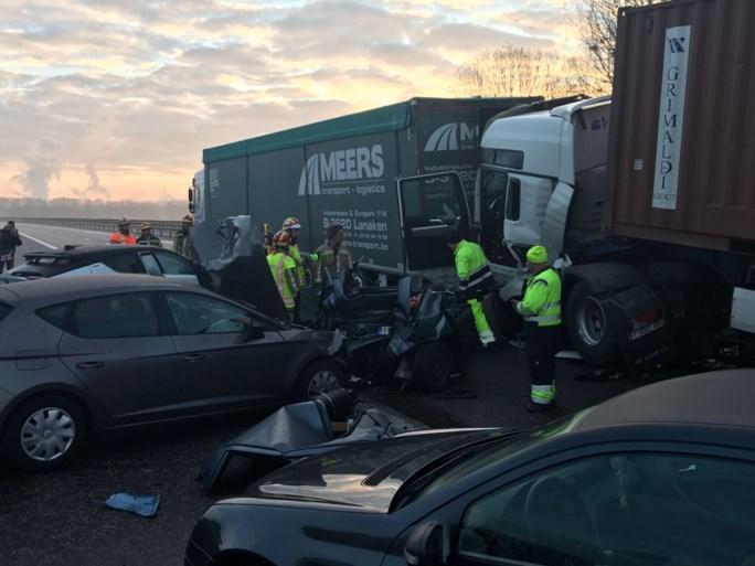 Carnavalswagen vat vuur onder brug E314: trucker (51) overleden na kettingbotsing