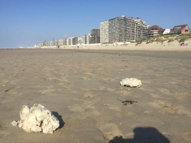Vreemd gezicht op strand: grote klonters kaarsvet aangespoeld