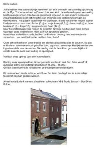 Basisschool zet hulpactie op voor getroffen families na grondverzakking in Zussen