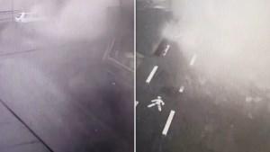 Moment waarop Italiaanse brug instort vastgelegd door beveiligingscamera's