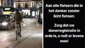 Limburgse politie op Facebook: 'Geen licht op de fiets? Maak je donorregistratie dan in orde!'