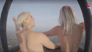 Heidi van Qmusic topless op ballonvaart om aandacht te vragen voor borstkanker