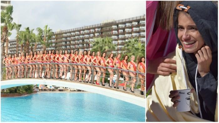 Finalistes Miss België onderkoeld aan de kant na zwemproef van dertig meter