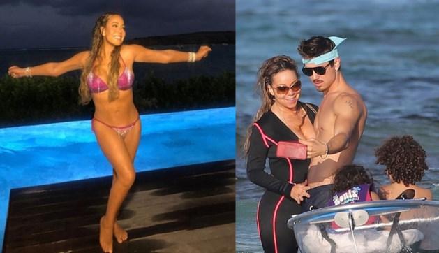 Mariah Carey geniet van vakantie in paarse glitterbikini met haar toyboy