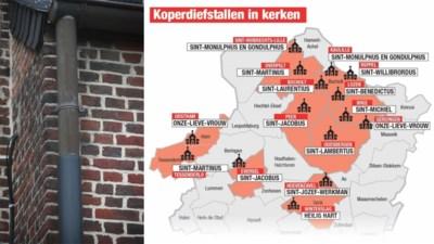 Dieven koperen afvoerbuizen aan 15 Limburgse kerken riskeren 18 maanden cel