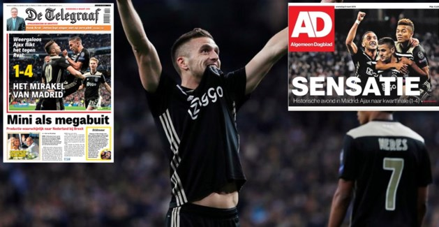 """Nederlandse pers door het dolle heen na """"grootste prestatie ooit"""", zelfs Spanjaarden loven Ajax"""