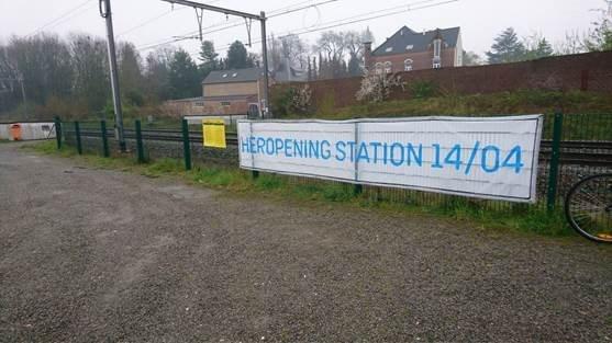 """Verwarring door spandoek: """"Station van Gingelom heropent niet"""""""