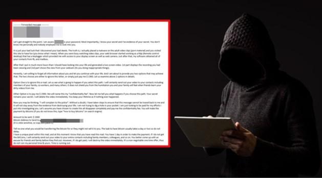 """'Sextortion mail' gaat rond: """"Oplichters sturen jouw correcte wachtwoord door en persen je zo af"""""""