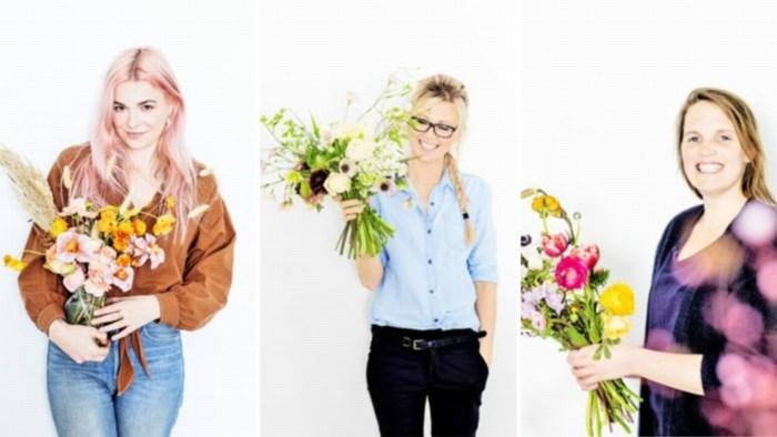 Drie bloemenmeisjes toveren met nonchalante hipsterboeketjes