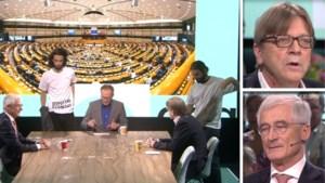 Klimaatactivisten verstoren debat in 'De zevende dag' en gooien confetti over Geert Bourgeois en Guy Verhofstadt