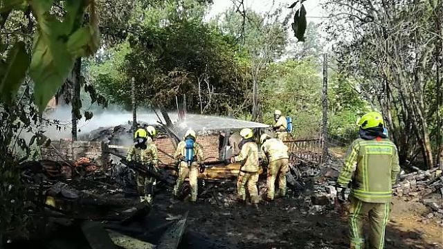 Houtschuur volledig uitgebrand in Hamont-Achel