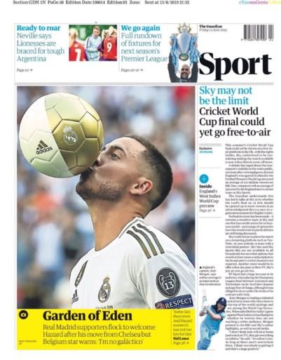 Eden Hazard siert de voorpagina's, maar eentje springt er toch wel uit