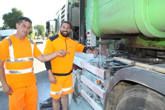 Afvalophalers blussen zelf brand aan hun vuilniswagen