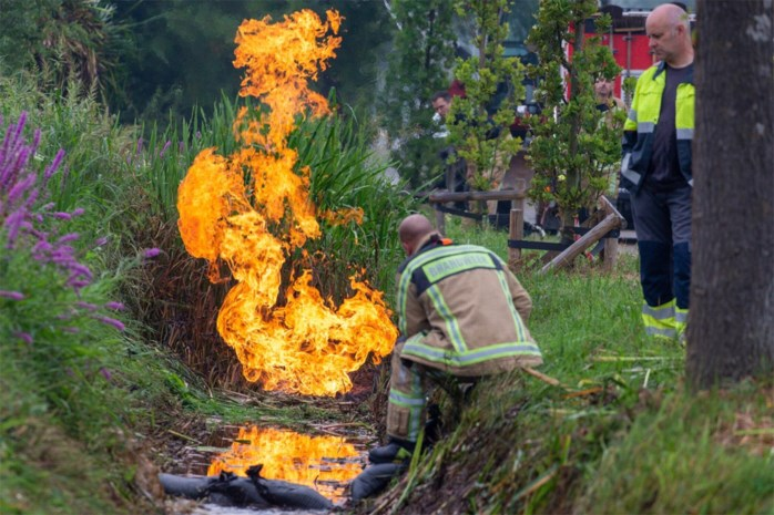 Brandend gaslek op Genkersteenweg