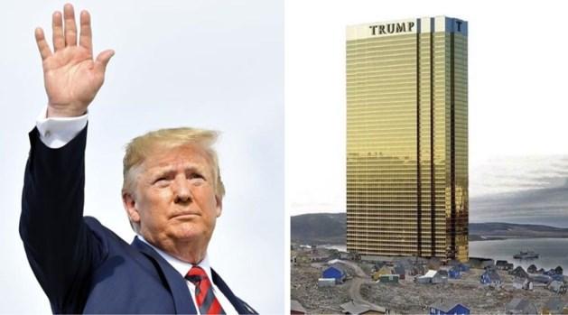 Donald Trump tweet foto van enorme Trump Tower op Groenland