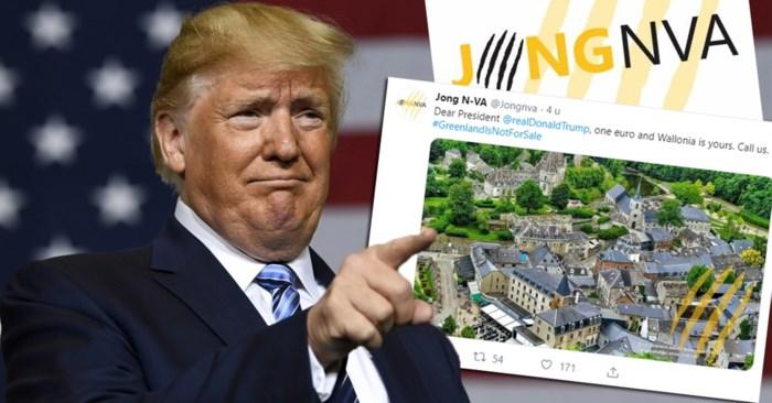 "Ophef over tweet Jong N-VA: ""Beste Trump, één euro en Wallonië is van u"""