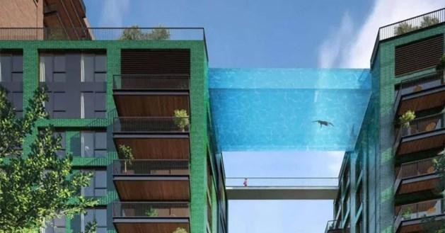 """Spectaculaire beelden tonen het allereerste """"zwevende zwembad"""""""