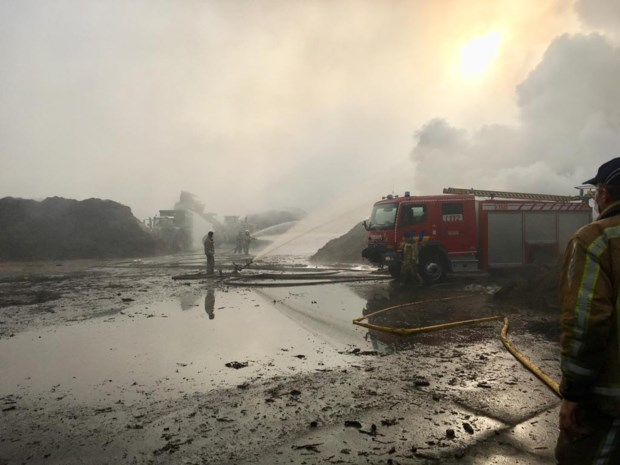 Brand bij compostbedrijf in Riemst onder controle: brandweer blust nog na