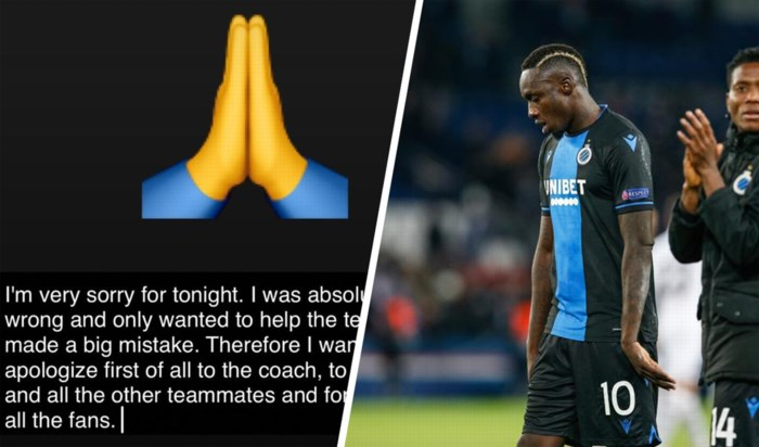 Club Brugge-spits Diagne biedt excuses aan na penaltyklucht tegen PSG