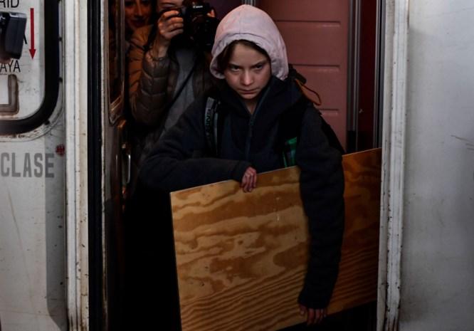 Greta Thunberg in Madrid aangekomen voor klimaatbetoging