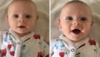 Doof baby'tje lacht van oor tot oor wanneer ze haar mama hoort