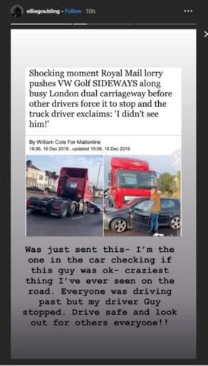 Zangeres Ellie Goulding schiet te hulp bij hallucinant ongeval met vrachtwagen