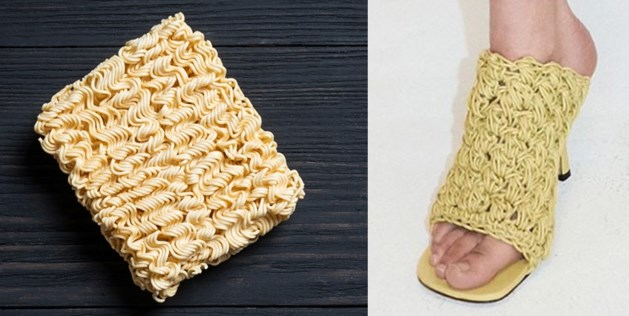 Luxemerk Bottega Veneta maakt sandalen met 'noedels'