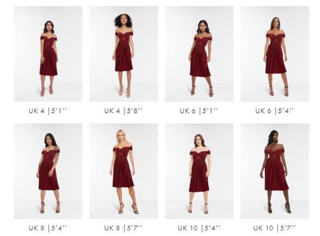 Nieuw testproject Asos: 16 modellen tonen dezelfde jurk om klanten te helpen bij hun keuze