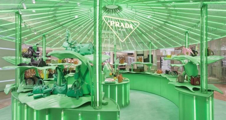 Nieuwe pop-upwinkel Prada slaat groen uit