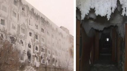 Surreëel: dit appartementsblok is volledig bevroren