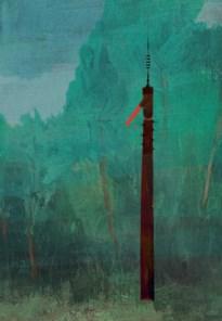 Wandelen langs stokkenmannen van twaalf meter