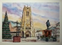 Kunstschilder Koen Spaas maakt aquarel van Tongerse markt