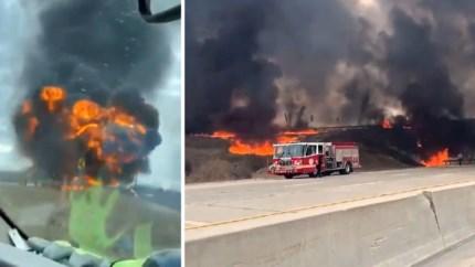 Tankwagen ontploft op snelweg: pas bevallen vrouw sleurt brandende chauffeur uit wrak