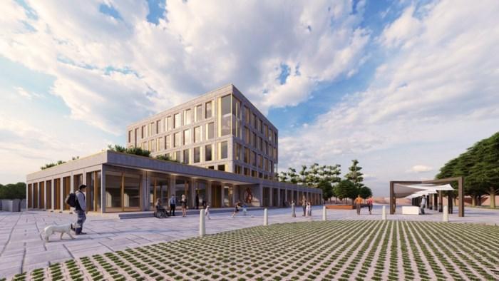 Nieuw hoofdgebouw met plein voor Sint Oda