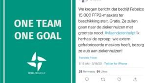 Febelco schenkt gratis 16.000 mondmaskers aan de ziekenhuizen