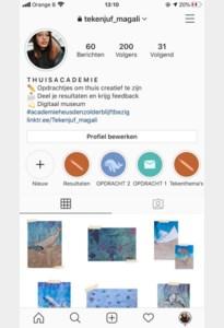 Tekenjuf Magali geeft online les op instagram