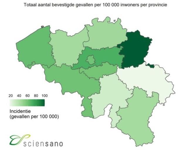 1 op 1.000 Limburgers besmet met corona: Alken zwaarst getroffen in België