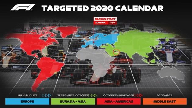 Formule 1 wil F1-seizoen 2020 op 5 juli laten beginnen