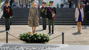 Koning Filip, koningin Mathilde en premier Wilmès herdenken einde van Tweede Wereldoorlog