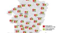 KAART. Zo evolueerde het aantal voetbalclubs in uw stad/gemeente sinds 1990